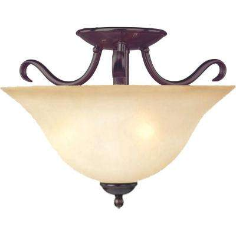 Basix 2-Light Oil-Rubbed Bronze Semi-Flush Mount Light