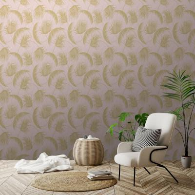 Oasis Pink and Gold Foil Leaves Wallpaper