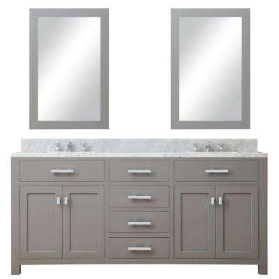 72 in. W x 21 in. D Vanity in Cashmere Grey with Marble Vanity Top in Carrara White and 2 Mirrors