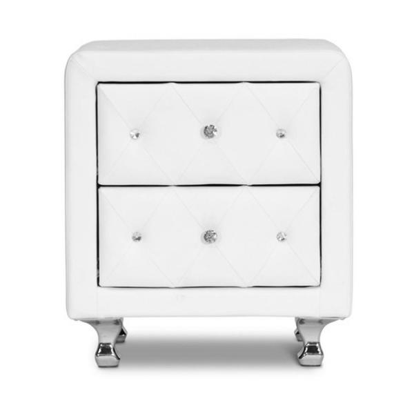 Baxton Studio Stella White Faux Leather Upholstered Nightstand 28862-4821-HD