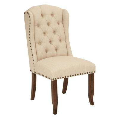 Jessica Linen Fabric Tufted Wing Chair with Bronze Nail-Heads and Coffee Legs