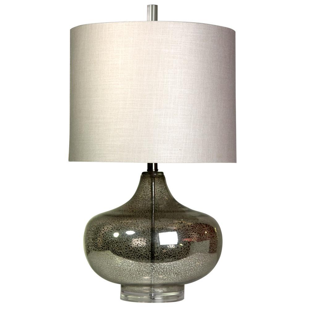 27.5 in. Antique Mercury Table Lamp with White Designer Print Hardback Fabric Shade