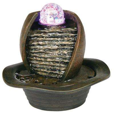 8 in. Dark Earth-Tone Color Table Fountain with LED Light