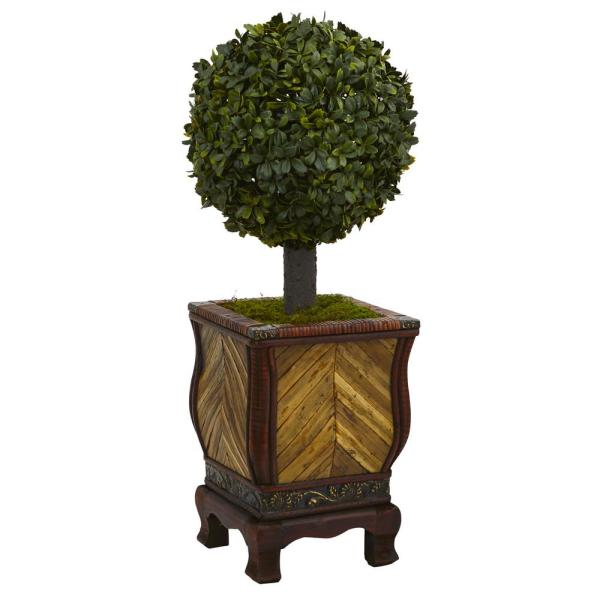 27 in. High Indoor Boxwood Ball Topiary Artificial Tree in Decorative Planter