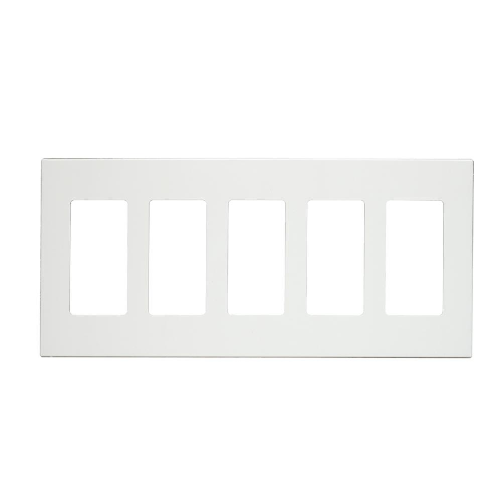 5-Gang Decora Screwless Wall Plate, White