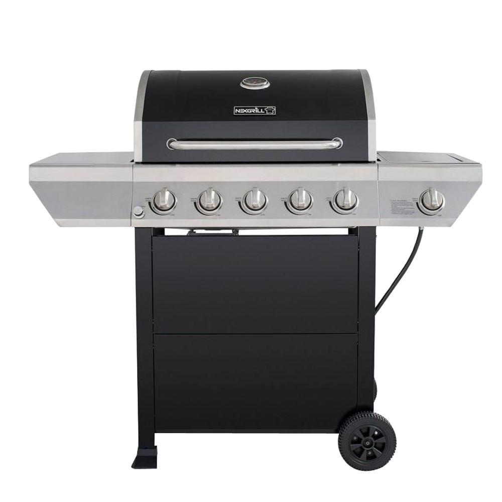 Great Nexgrill 5 Burner Propane Gas Grill In Black With Stainless Steel Control  Panel And Side Burner 720 0888   The Home Depot