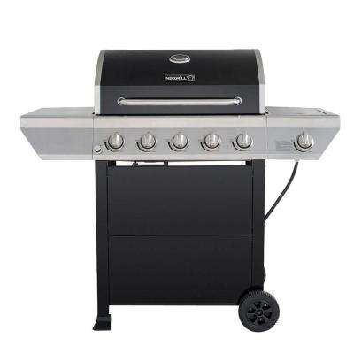 5-Burner Propane Gas Grill in Black with Stainless Steel Control Panel and Side Burner