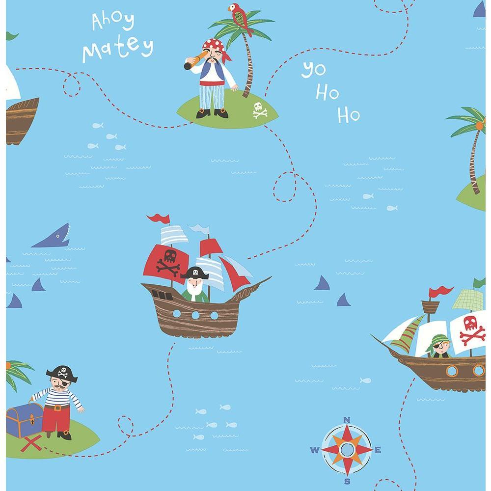 Blue Funny Pirates Wallpaper Sample
