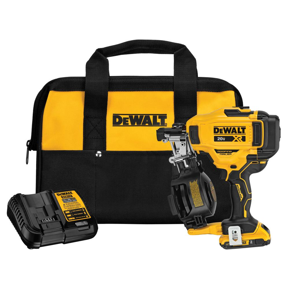 DEWALT 20-Volt MAX Lithium-Ion 15-Degree Cordless Roofing Nailer Kit w/ Battery 2.0 Ah Charger and Bag