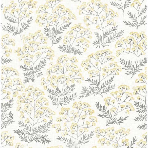Floret Yellow Floral Paper Strippable Roll (Covers 56.4 sq. ft.)