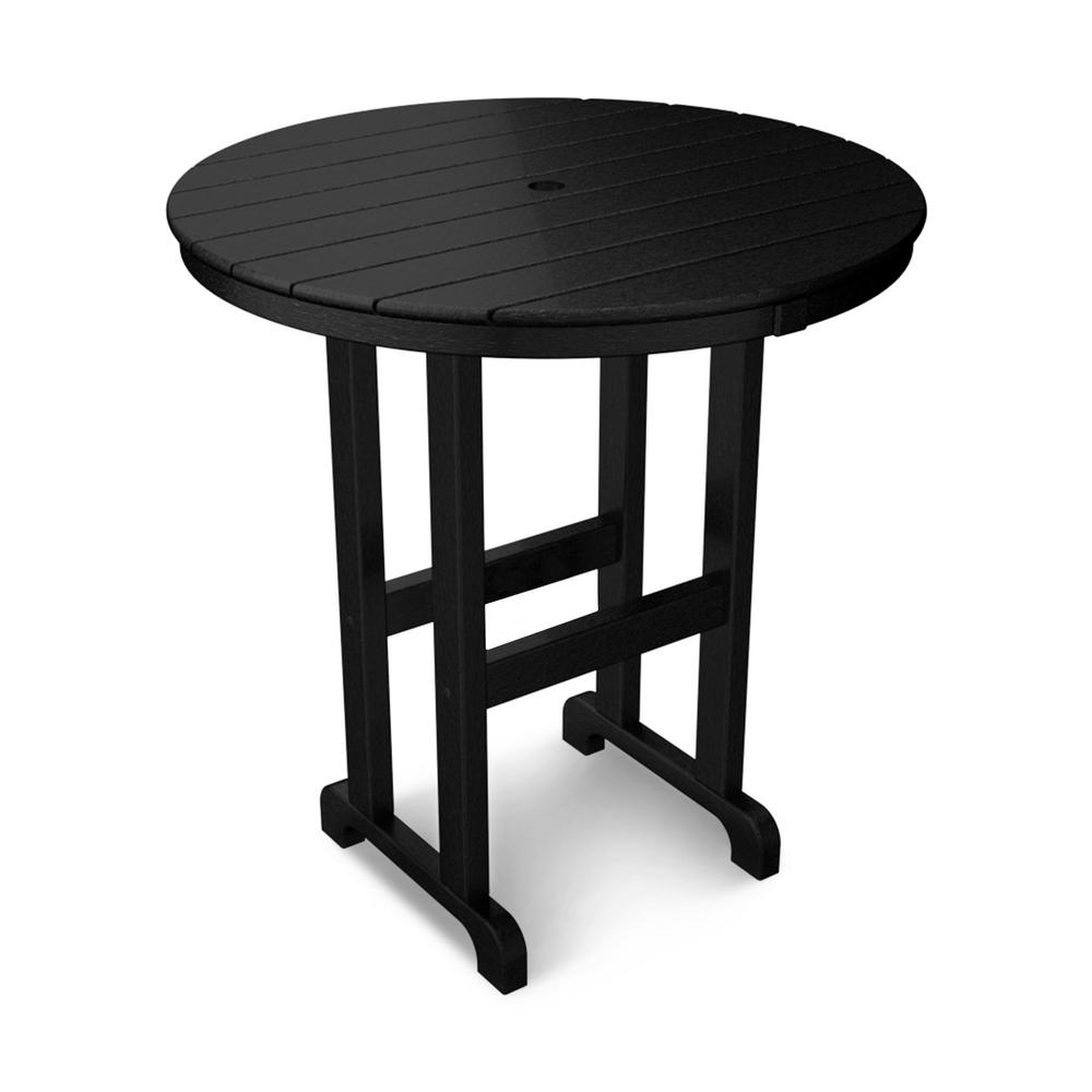 La Casa Cafe 36 in. Black Round Plastic Outdoor Patio Counter