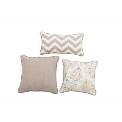 Tyndale Cobblestone Square and Lumbar Outdoor Throw Pillow (3-Pack)