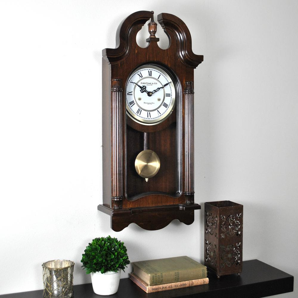 FirsTime Heirloom Dark BrownBrushed Gold Pendulum Clock31021 The