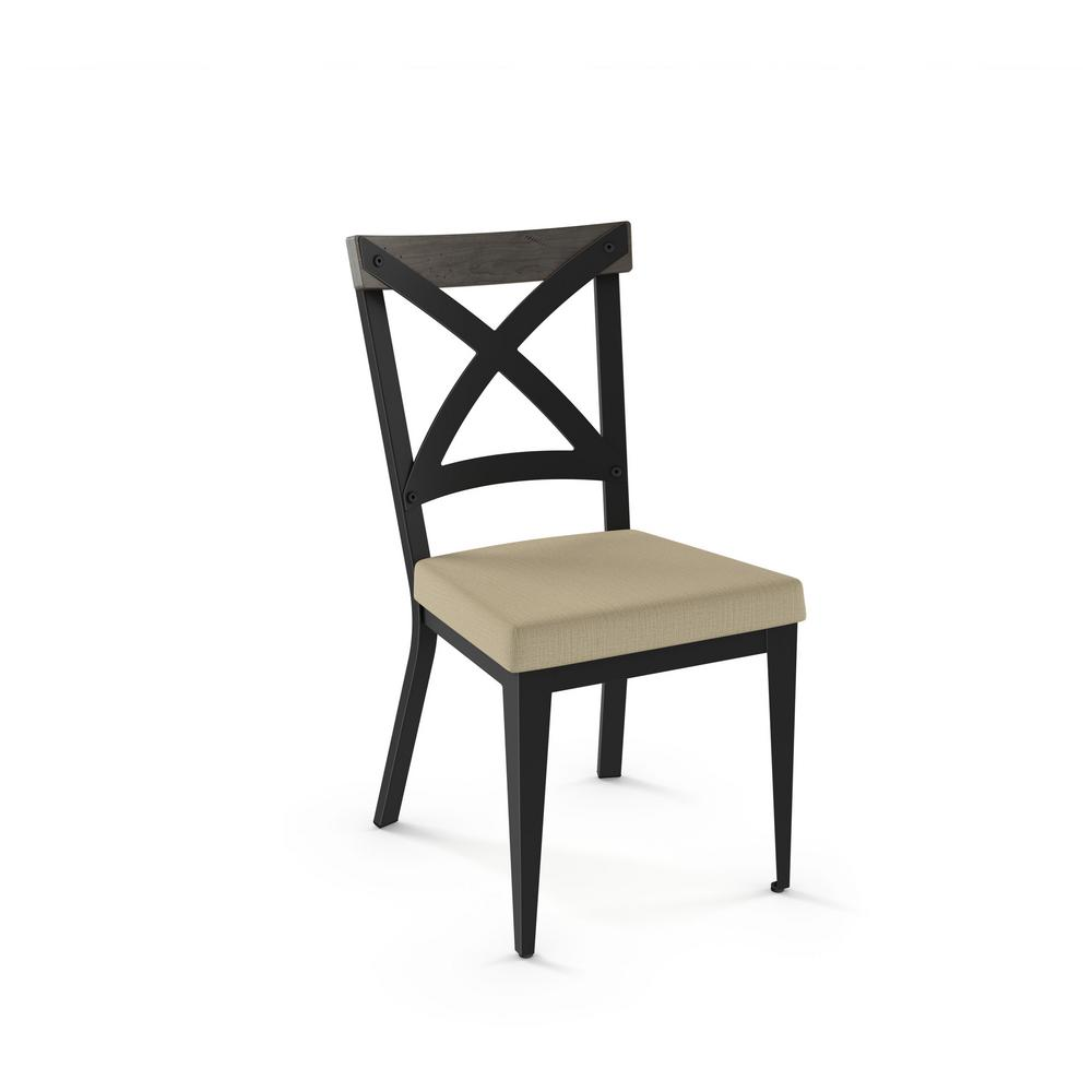 Snyder black metal beige cushion light grey wood dining chair