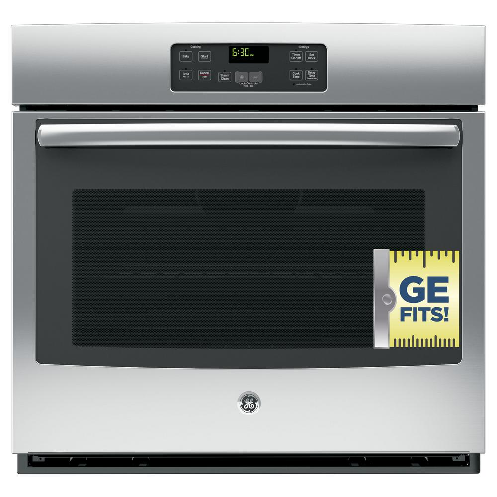 GE 30 in. Single Electric Wall Oven Standard Cleaning with Steam in Stainless Steel