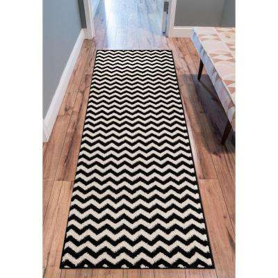 Sydney Eli Chevron Zig Zag Waves Black 3 ft. x 10 ft. Runner Rug
