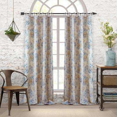 Annalise Floral Linen Tie Top Window Curtain