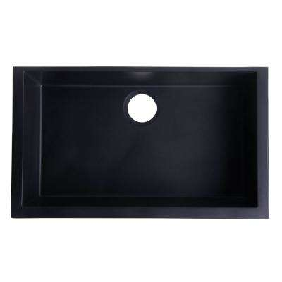 Undermount Granite Composite 29.88 in. Single Bowl Kitchen Sink in Black