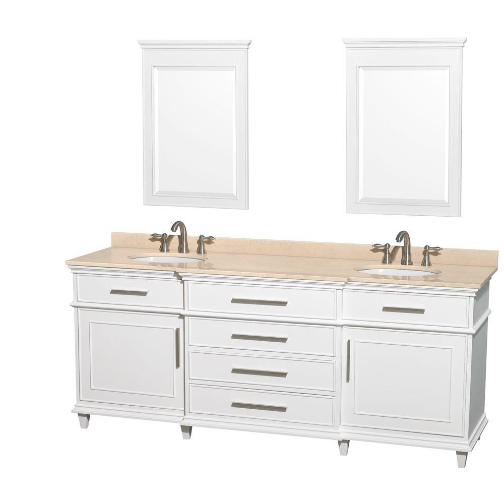 Berkeley 80 in. Double Vanity in White with Marble Vanity Top
