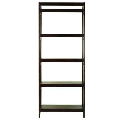 Stratford Espresso 5-Shelf Folding Bookcase