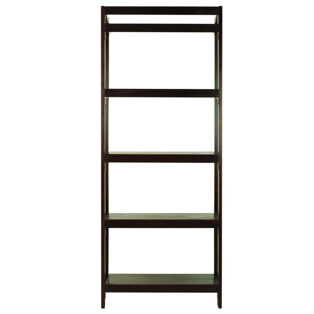 Casual Home Stratford Espresso 5-Shelf Folding Bookcase 337-53