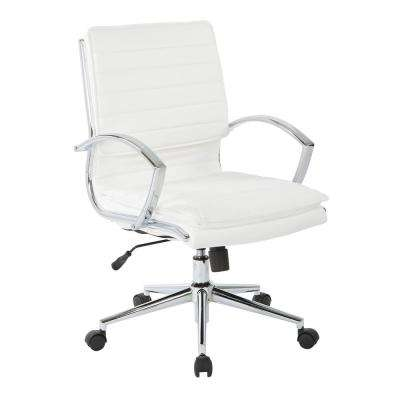 Mid Back Manager's White Faux Leather Office Chair