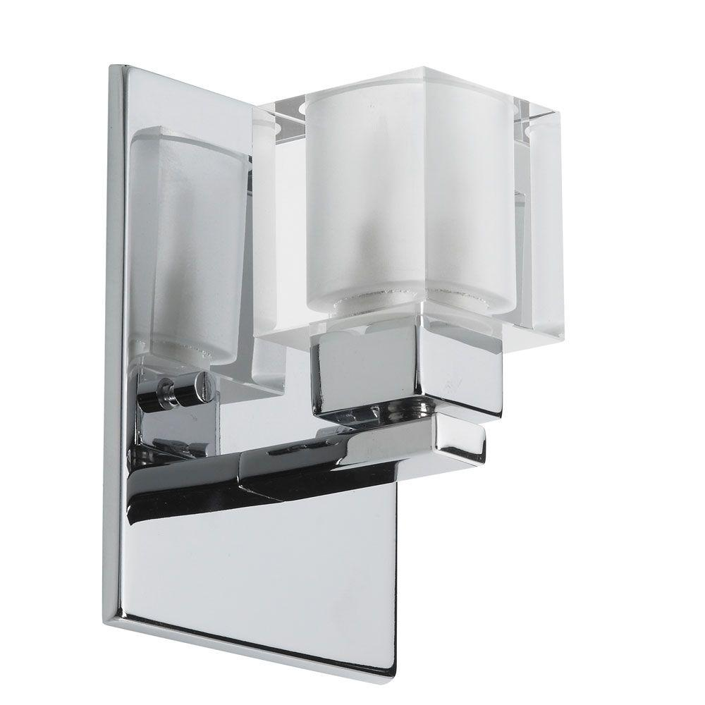 Catherine 1-Light Polished Chrome Halogen Vanity Light with Frosted Glass Shades