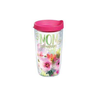Mom Watercolor Floral 16 oz. Double Walled Insulated Tumbler with Travel Lid