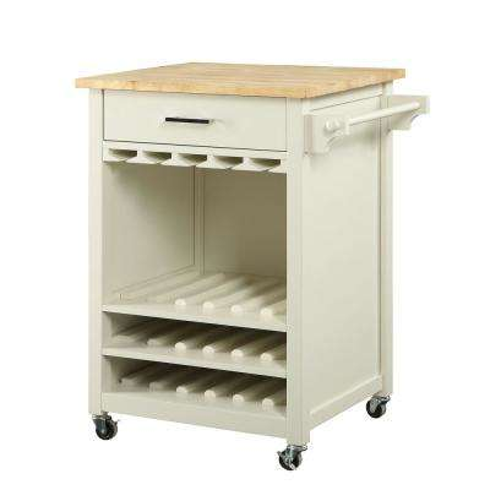 Macie 18-Bottle Polar White Bar Cart