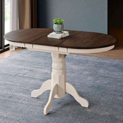 Dillon Dark Brown and Cream Wood Extendable Oval Pedestal Dining Table