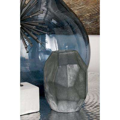 22 in. New Traditional Charcoal Gray Glass Decorative Vase