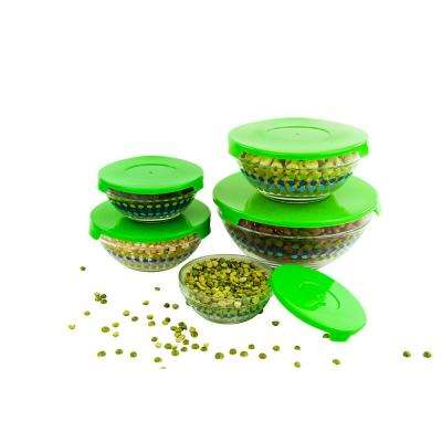 10-Piece Dotted Glass Food Storage Bowls
