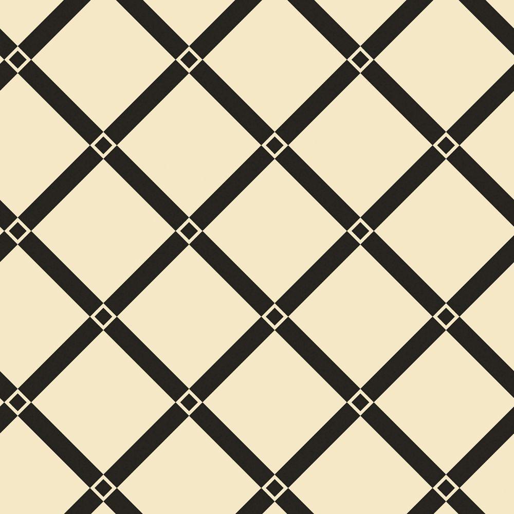 The Wallpaper Company 56 sq. ft. Black and Ivory Diamond Links Wallpaper