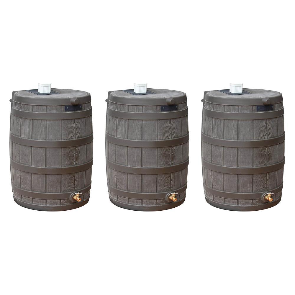 Rain Wizard 50 Gallon Plastic Rain Barrel with Brass Spigot (3 Pack)