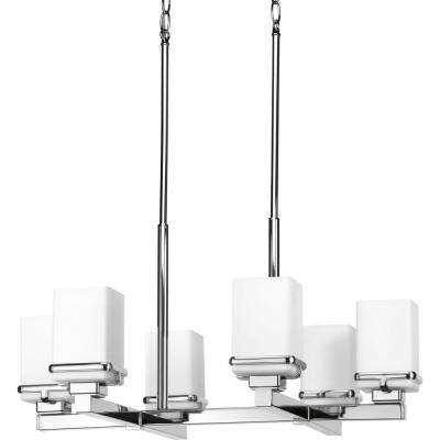 Metric Collection 6-Light Polished Chrome Chandelier with Shade with Etched Opal Glass Shade