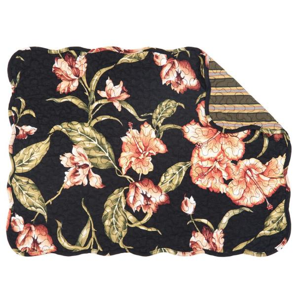 C & F Home Black Aubree Quilted Placemat (Set of 6)