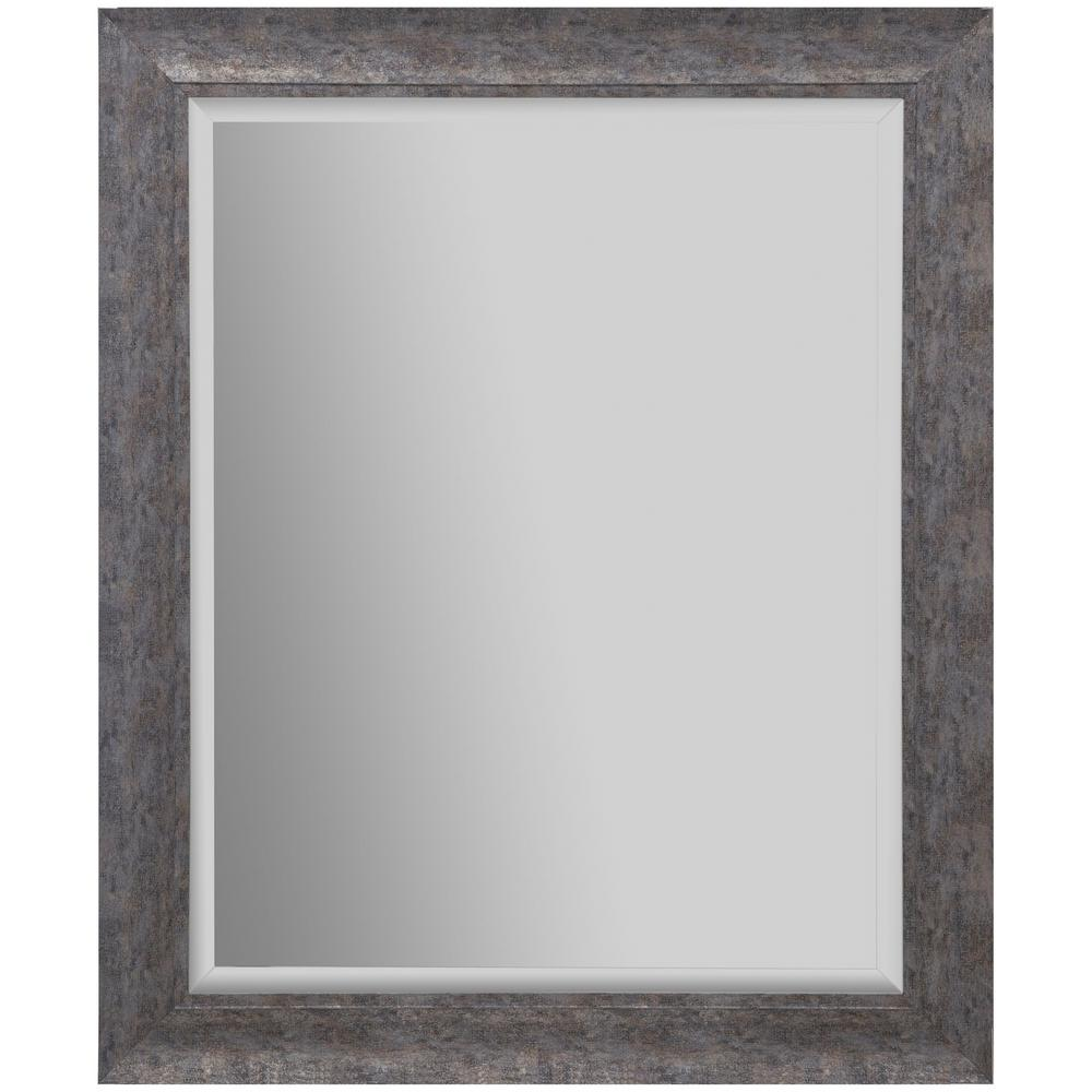 24 in. x 30 in. Scoop Framed Beveled Rectangular Distressed Silver