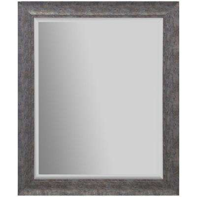 24 in. x 30 in. Scoop Framed Beveled Rectangular Distressed Silver Decorative Mirror