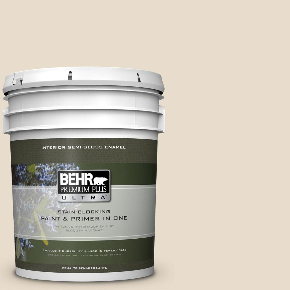 BEHR Premium Plus Ultra 5 gal. #23 Antique White Semi-Gloss Enamel Interior Paint