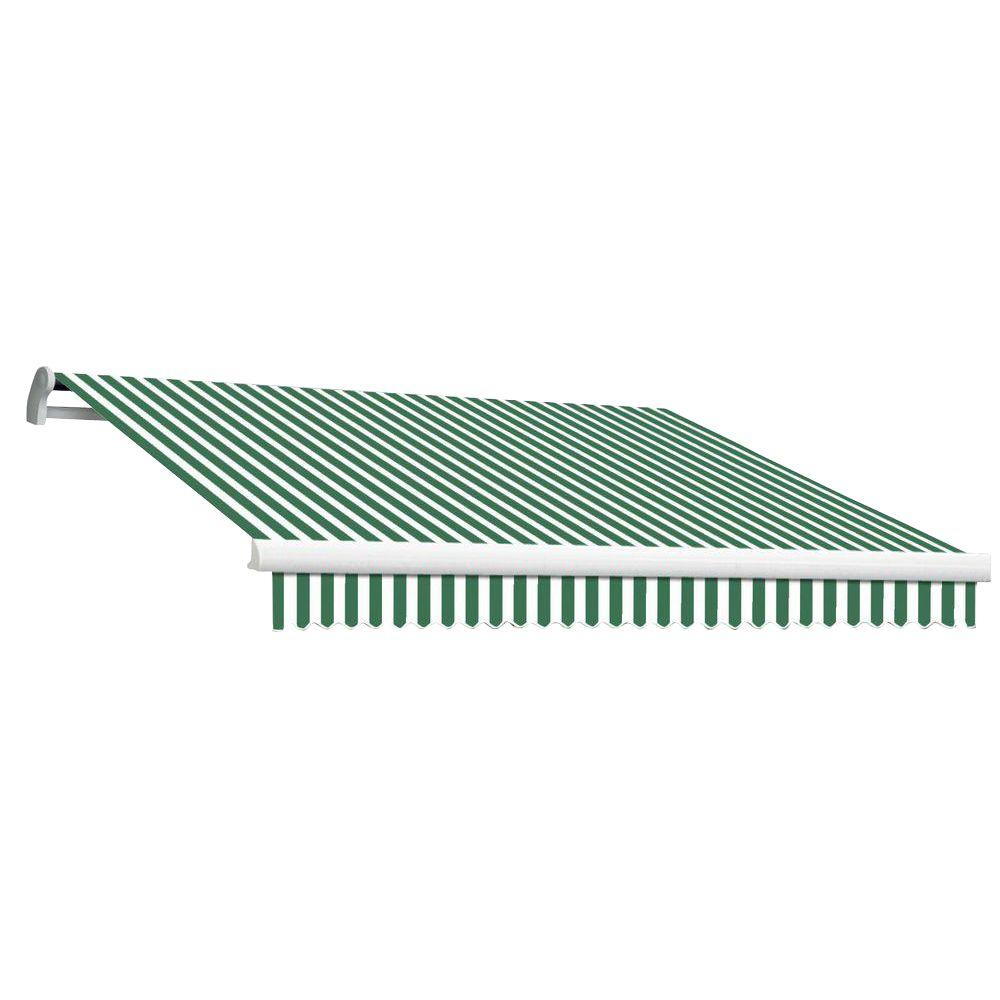 Beauty-Mark 8 ft. MAUI EX Model Right Motor Retractable Awning (84 in. Projection) in Forest Green and White Stripe