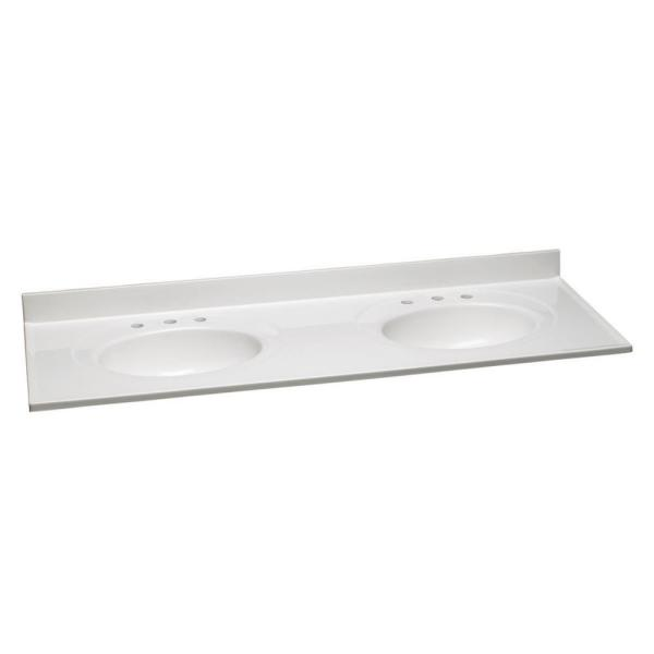 61 in. W Cultured Marble Vanity Top in Solid White with Solid White Double Basins with 8 in. Widespread Faucet Spread