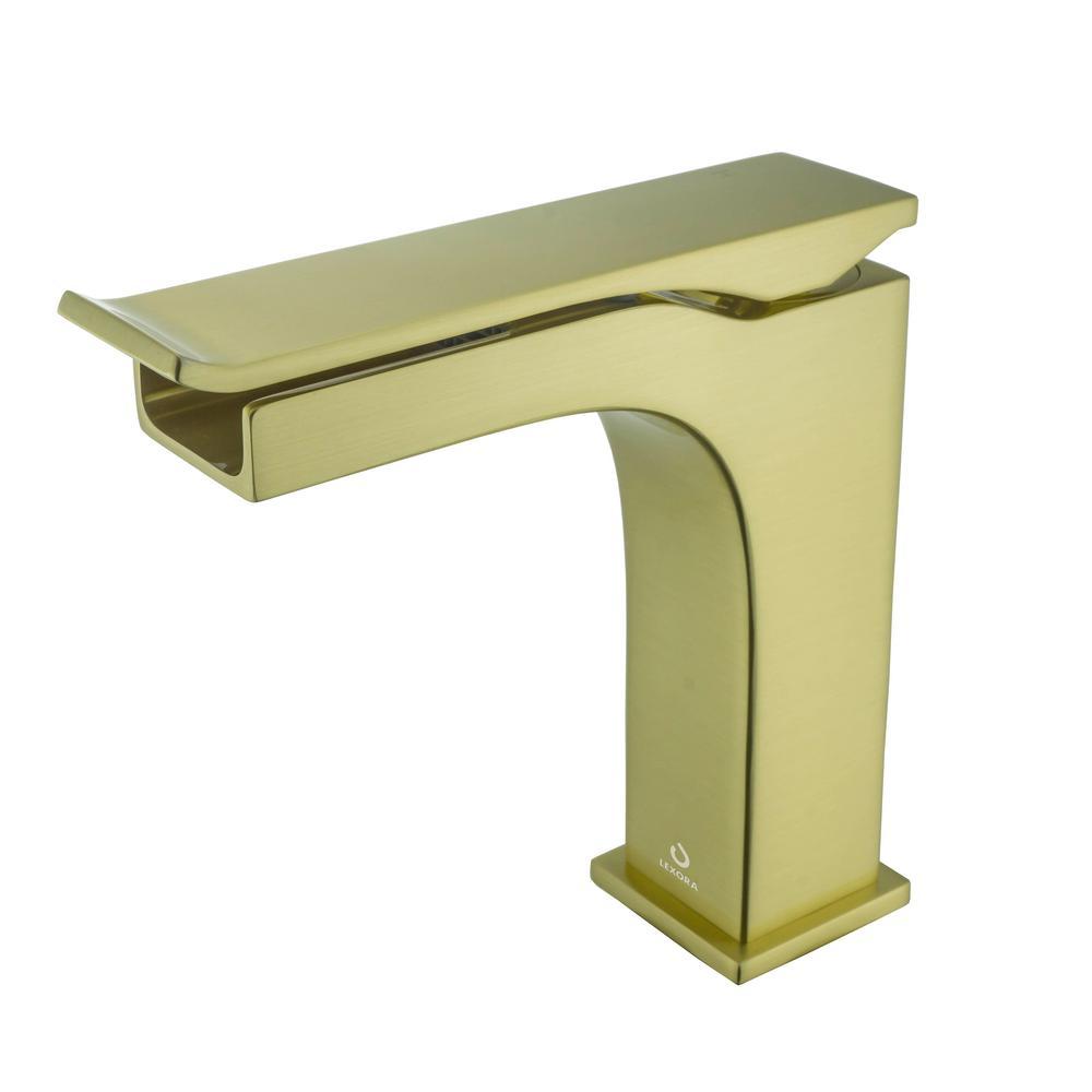 Balzani Brass Single Hole Waterfall Bathroom Faucet - Brushed Brass