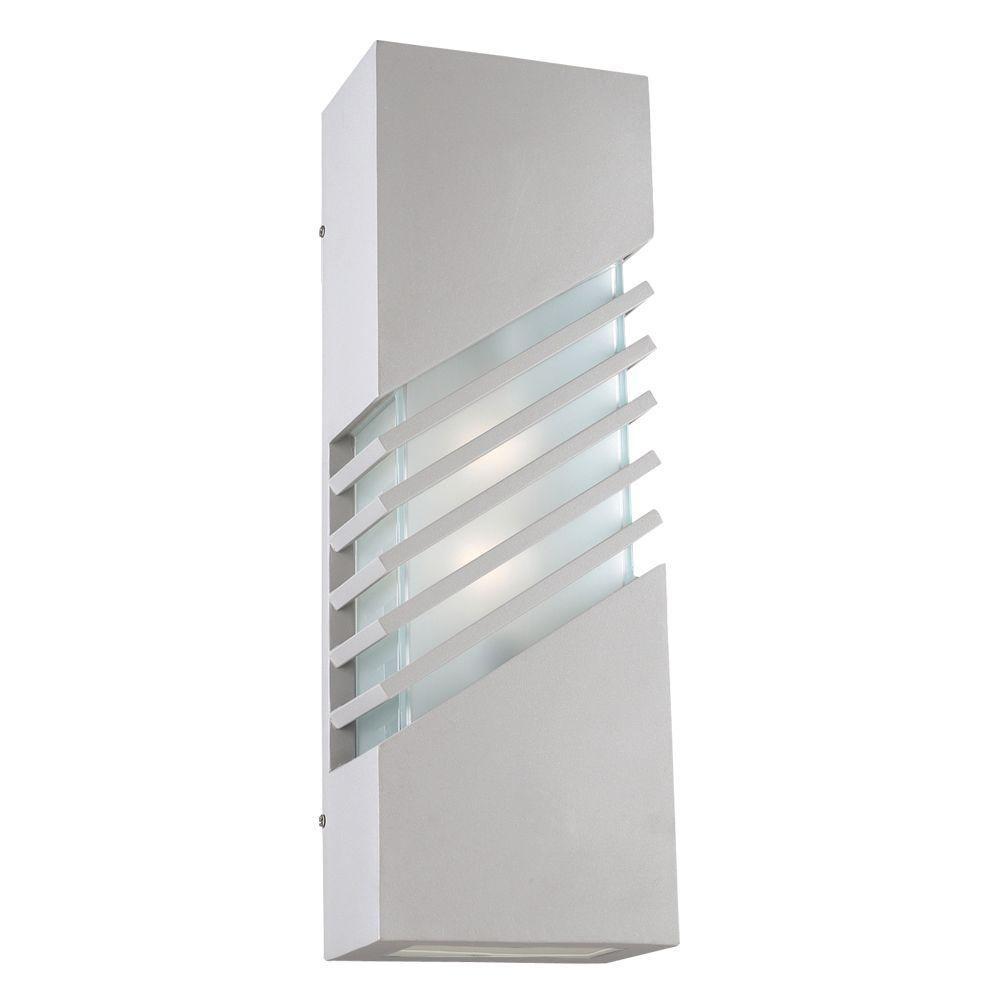 PLC Lighting 2-Light Outdoor Bronze Wall Sconce with Frost Glass