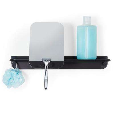 Aluminum Glide Shower Shelf in Black with Mirror