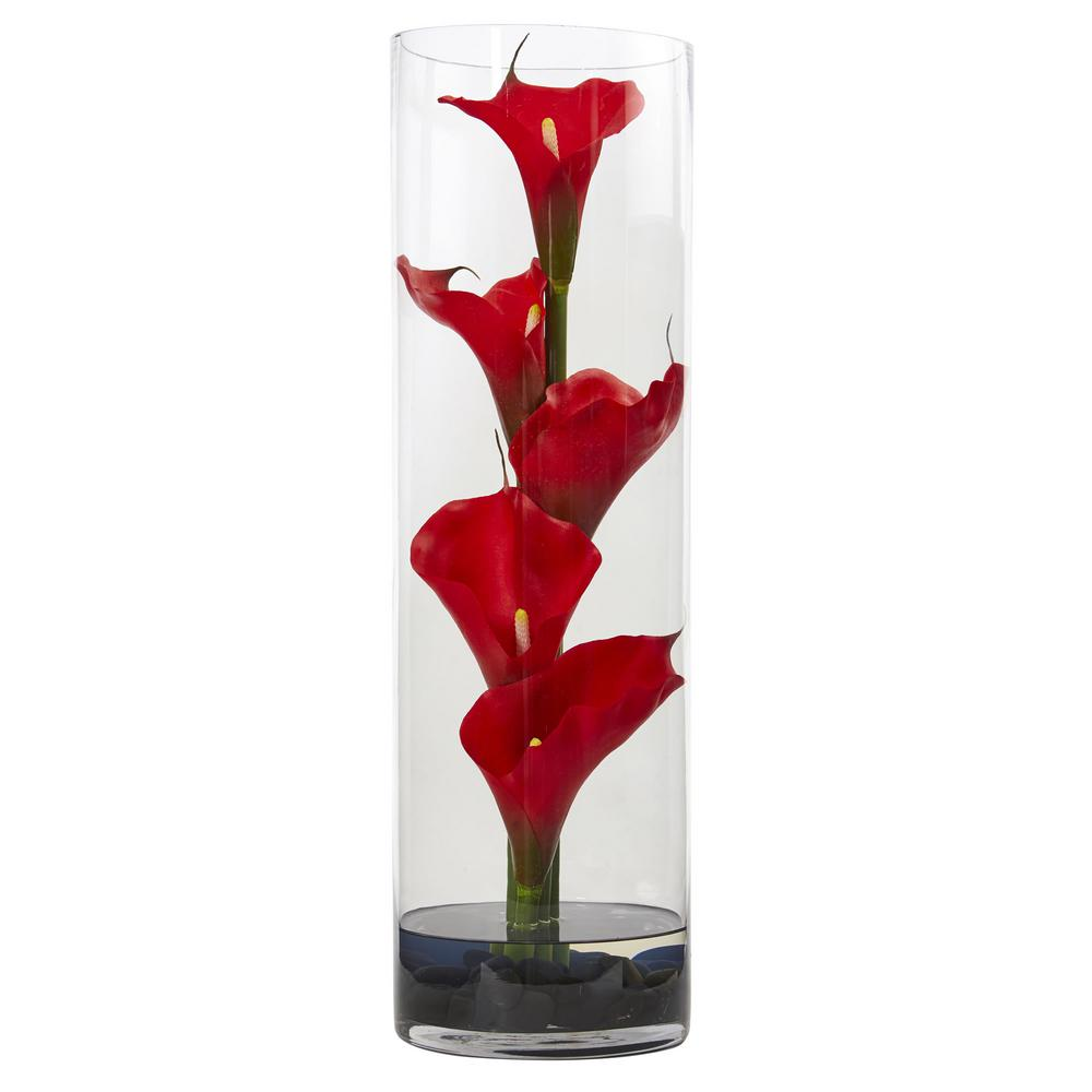 Nearly natural 20 in calla lily in cylinder glass vase 1526 rd calla lily in cylinder glass vase reviewsmspy