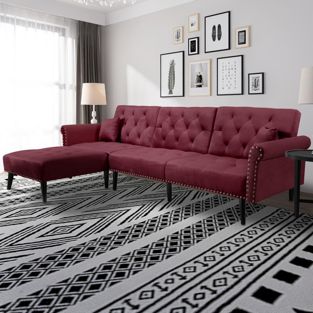 Glorious Wine Red L-Shape Reversiable Futon Sectional Sofa Sleeper