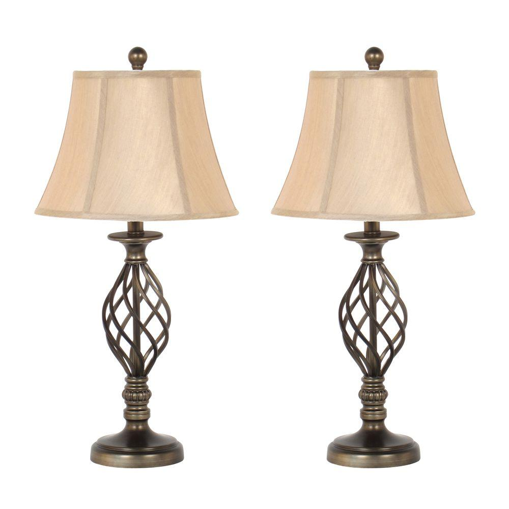 Charmant Antique Brass Spiral Cage Design Table Lamp Set With Linen Bell Shades