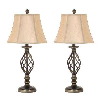 27 in. Antique Brass Spiral Cage Design Table Lamp Set with Linen Bell Shades