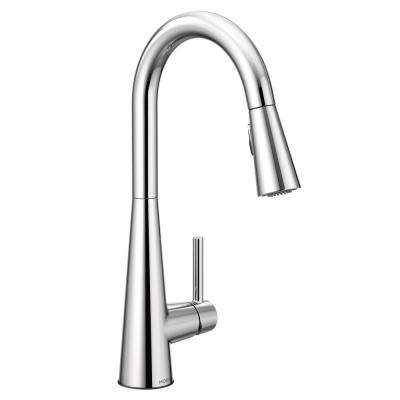 Sleek Single-Handle Pull-Down Sprayer Kitchen Faucet with Reflex in Chrome