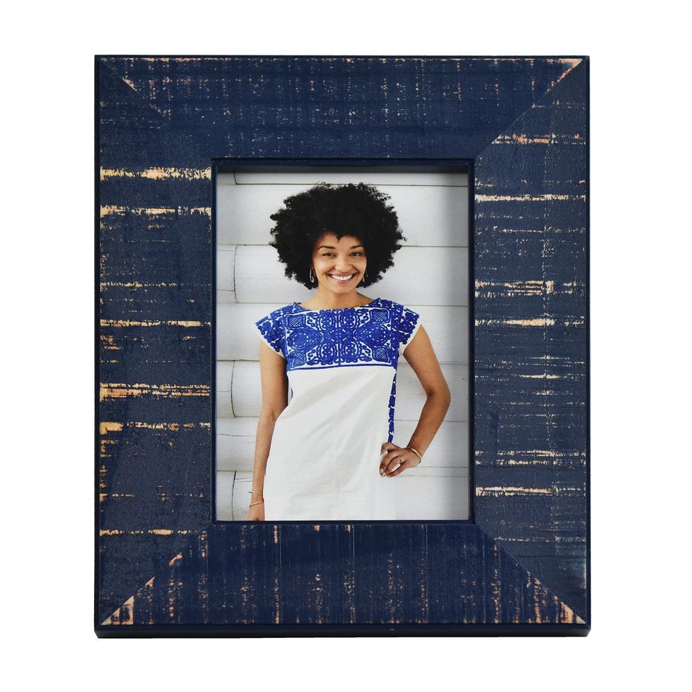 Dennis Dark Blue 4 in. x 6 in. Picture Frame (Set of 2)